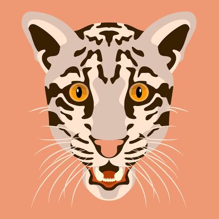 clouded leopard illustration head face