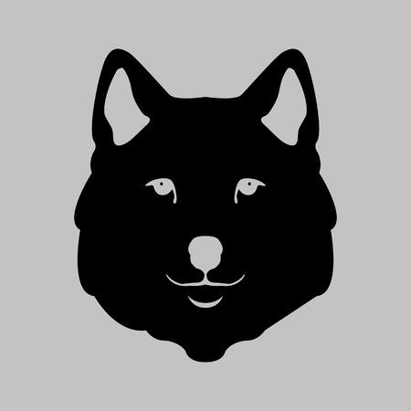 cruel zoo: Wolf head illustration stylized style flat