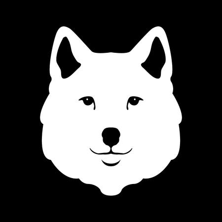 Wolf head illustration stylized style flat
