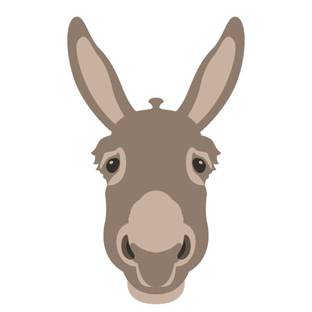 donkey head face illustration style Flat