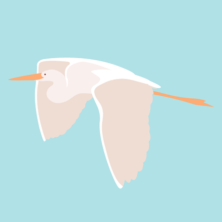 heron bird illustration style Flat