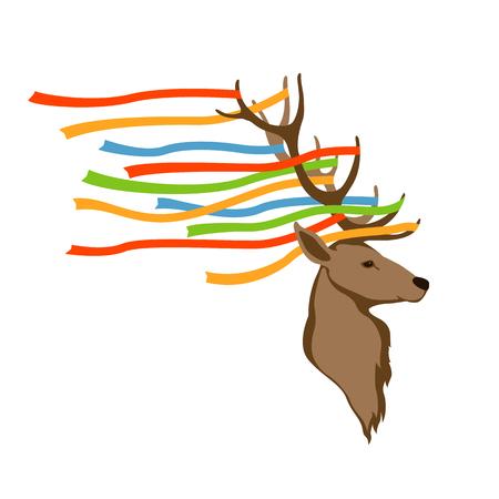 deer head vector illustration style flat Illustration