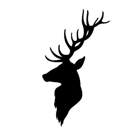Silhouette piatta testa di cervo illustrazione di stile Archivio Fotografico - 64202952