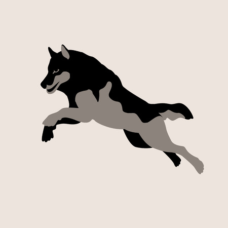 wolf jumping  illustration style Flat