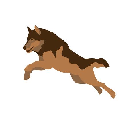 wolf jumping illustration style Flat