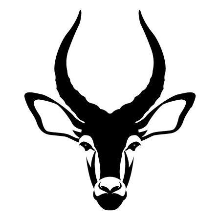 impala buck head face illustration style Flat