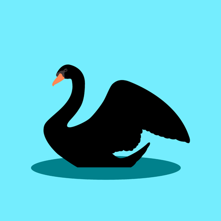 swan on the water illustration style Flat
