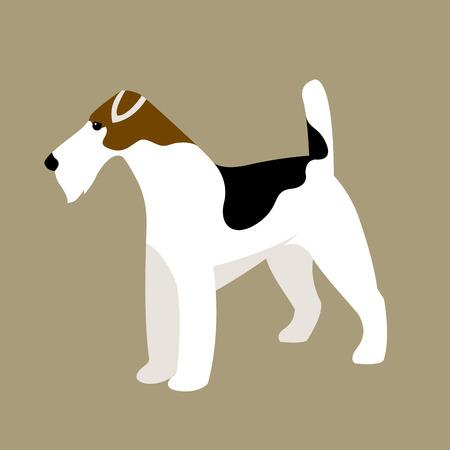 fox terrier illustration style Flat profile Vector Illustration