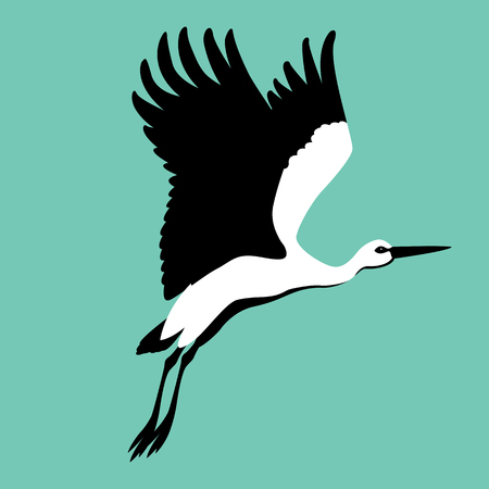 Stork illustration style Flat