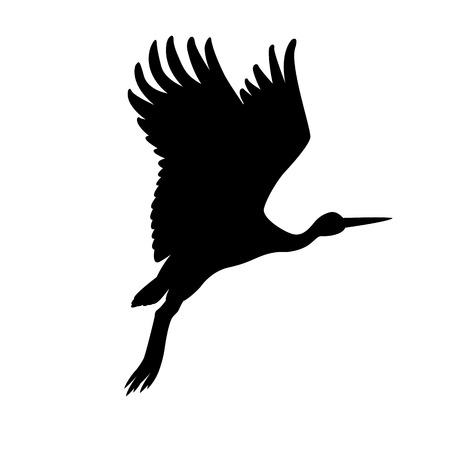 Stork illustration black silhouette Vector Illustration