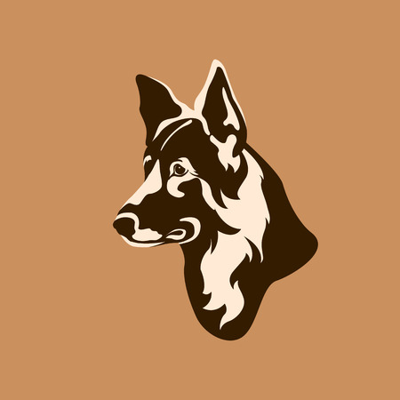 shepard: German Shepherd dog head realistic style Flat