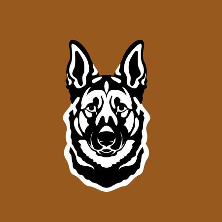 Tête de chien de berger allemand style réaliste plat
