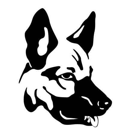 shepard: German Shepherd dog head style Flat Illustration
