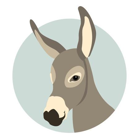 enfrentan a la ilustración del vector del estilo cabeza de burro plana Ilustración de vector