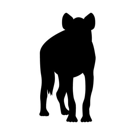 ferocious: Hyena illustration black silhouette