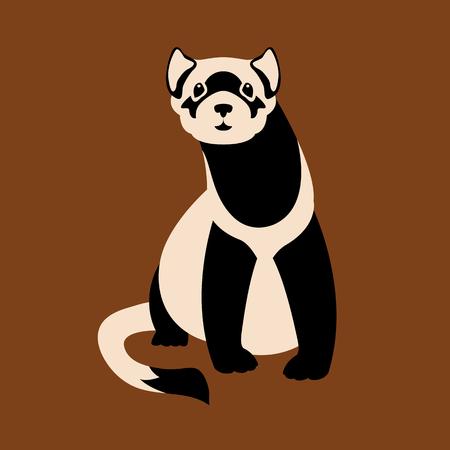 Black-Footed Ferret vector illustration style Flat
