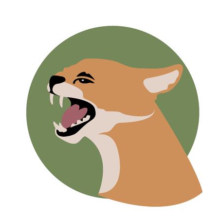 african wild cat head vector illustration style Flat