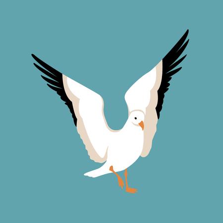 Gabbiano uccello stile illustrazione vettoriale piatto Vettoriali
