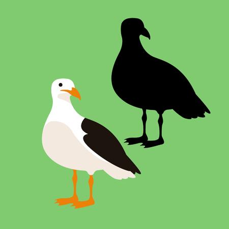 seagull vector illustration style Flat set black silhouette Illustration