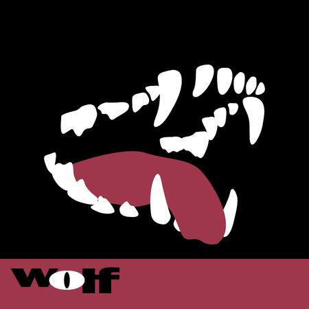 Wolf fangs teeth vector illustration style Flat