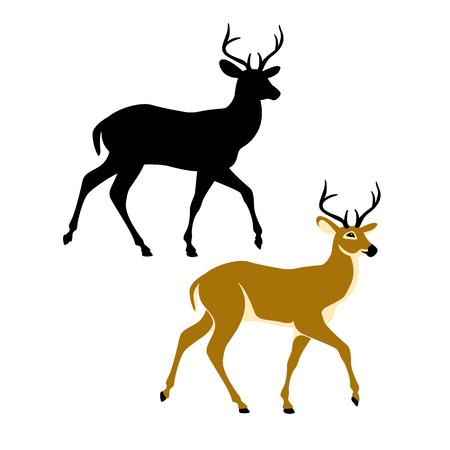 Deer vector illustration style Flat black silhouette  イラスト・ベクター素材