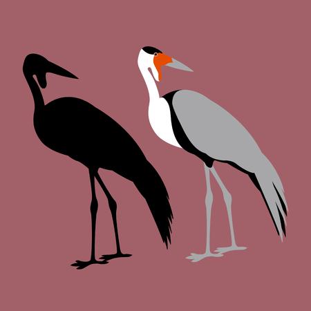wattled Crane Flat style vector illustration black silhouette