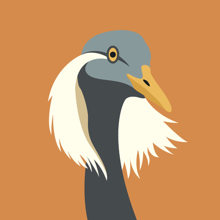 Crane bird head vector illustration style Flat