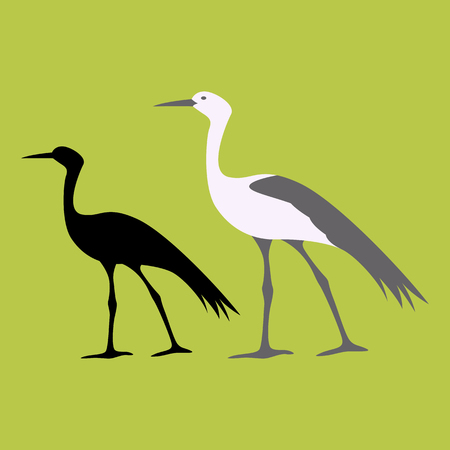 Blue Crane Flat style vector illustration