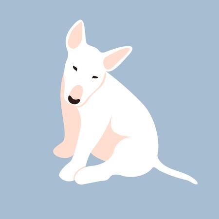 Bull Terrier puppy vector illustration style Flat