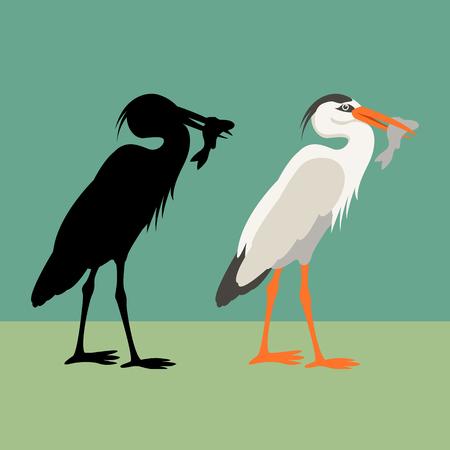 Heron vector illustration style Flat silhouette black Ilustração