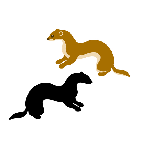 weasel vector illustration style Flat silhouette Illustration