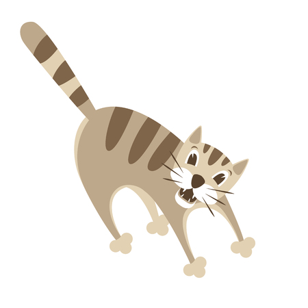 Crazy cat vector illustration style Flat cartoon