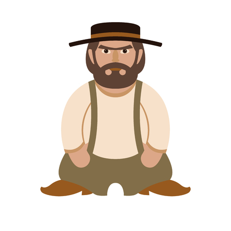 Men character vector illustration style Flat side front Illustration