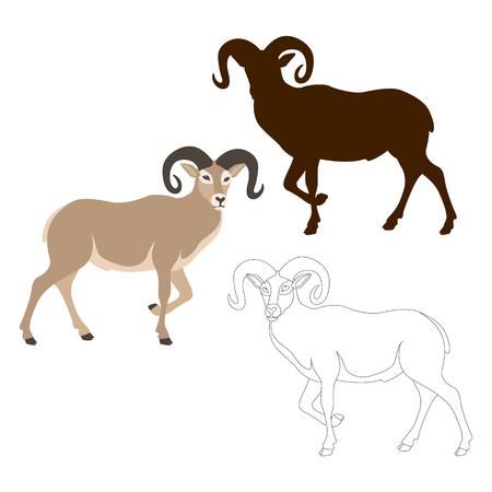 aries: Ram sheep vector illustration style Flat black silhouette Illustration