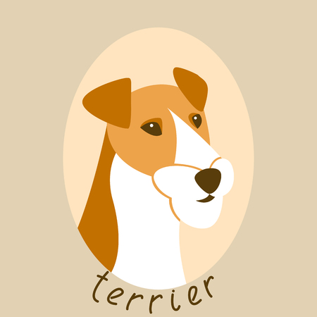 Terrier dog face vector illustration style Flat