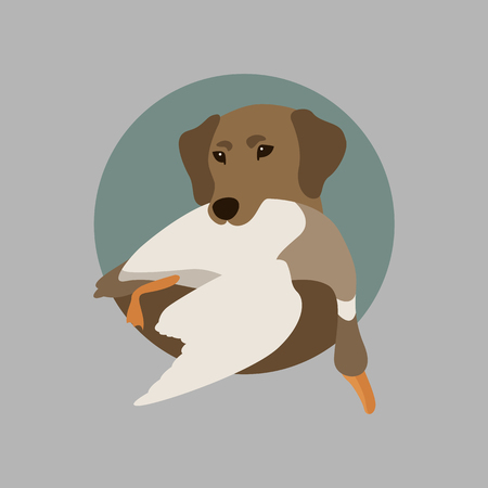 Hunting dog with duck Illustration