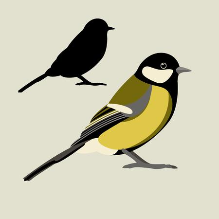 Estilo de ilustración de vector de pájaro teta Silueta de vector plano