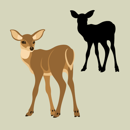 Deer baby vector illustration style Flat side set silhouette Иллюстрация