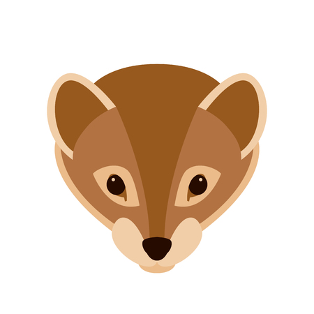 Weasel face vector illustration style Flat front side Illustration