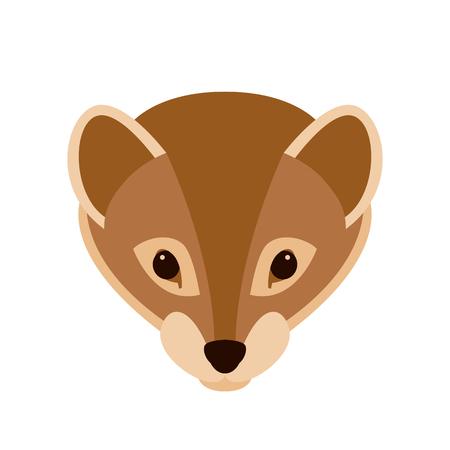 stoat: Weasel face vector illustration style Flat front side Illustration