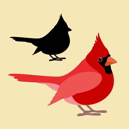 Bird cardinal vector illustration style Flat side silhouette
