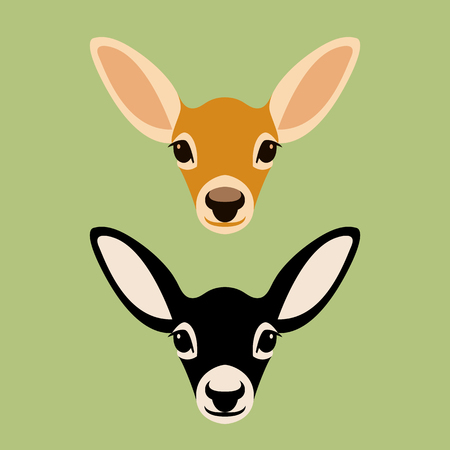 Baby Deer head vector illustration style Flat set Иллюстрация