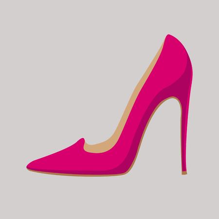 night dress: Ladies shoes vector illustration style Flat set profile