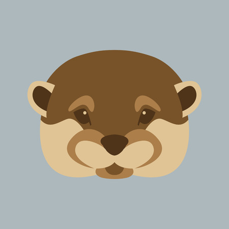 Otter face vector illustration style Flat front Illustration