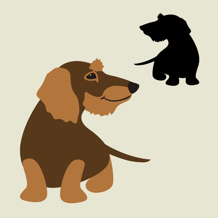 Teckel hond cartoon set vector illustratie stijl plat zwart silhouet Stock Illustratie