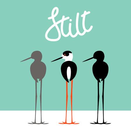 Stilt bird vector illustration style Flat black silhouette