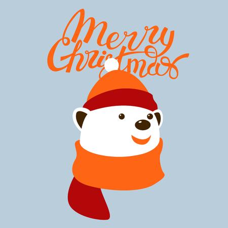 Merry christmas design .greeting card .bear. Flat style