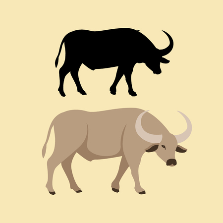 A Buffalo vector illustration style flat silhouette set illustration. Illustration