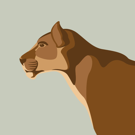Puma vector illustration style flat profile Illustration