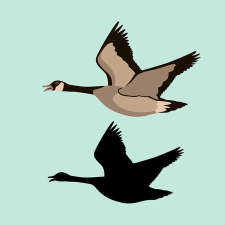 goose vector illustration style Flat black silhouette